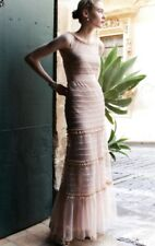NEW BHLDN Va et Vien nude Mesh Tulle Dotted Tiered Bow Ruffle Gown Maxi Dress 6