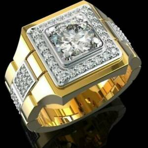 Square Diamond Engagement Ring 18k Gold Watch Band for Mens Party Ring Size 7-12