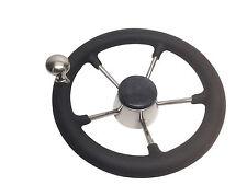 "Pactrade Marine 11"" Destroyer SS Steering Wheel 5 Spoke Foam Grip Control Knob"