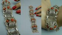 TM88 prächtiges Armband 925 Silber Koralle real coral besetzt filigran verziert