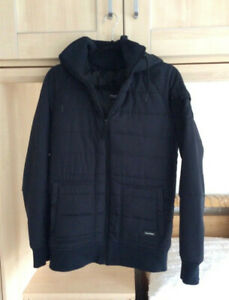 MENS ONE TRUE SAXON BLACK QUILTED JACKET SIZE MEDIUM PRE OWNED