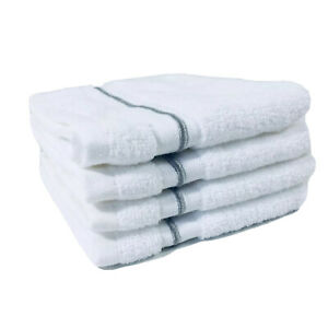 "Fieldcrest Wash Towels 13"" x 13"" White Cashmere Gray Stripe Set Of 4"