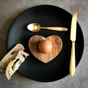Contemporary Heart Shaped Olive Wood Egg Cup - Sustainably Sourced.