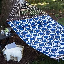 Hammock 13 ft Quilted Blue Hanging 2-Person Matching Pillow Backyard Cottage