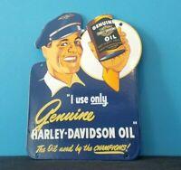 VINTAGE HARLEY DAVIDSON MOTORCYCLE PORCELAIN GAS SERVICE STATION DOOR PUSH SIGN
