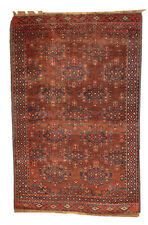 Hand made antique collectible Turkoman rug 3.8' x 5.6' ( 116cm x 170cm ) 1880