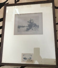 Rare Antique 1886 Leigh Hunt Rotterdam Harbor Etching Framed~Haden Etching Club