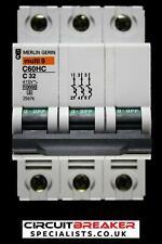 MERLIN GERIN 32 AMP TYPE C 10kA TRIPLE POLE MCB CIRCUIT BREAKER C60HC 25676