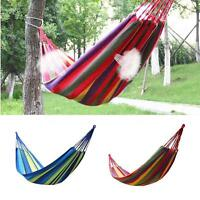Portable Cotton Rope Outdoor Swing Fabric Camping Hanging Hammock Canvas Bed US