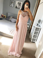 Womans Nude Pink Embellished Neck Maxi Dress Ladies Evening Bridesmaid ❤