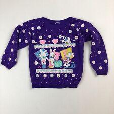 VTG Toddler Girl Purple Sewing Bunnies Fairy Kei Kawaii Sweatshirt Buttons Heart