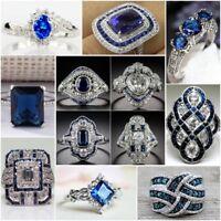 Vintage 925 Silver Blue Sapphire Women Wedding Engagement Bridal Jewelry Sz 6-10