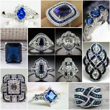 Vintage 925 Silver Ring Blue Sapphire Women Wedding Engagement Jewelry Size 6-10