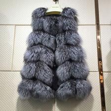 Women Farm vulpes lagopus Fox Fur Vest Lady Vest Gilet Long Waistcoat Xmas Gift