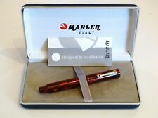 MARLEN SPECIAL EDITION ECLISSE ROLLERBALL PEN IN RED CELLULOID & SILVER - NEW