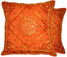 2pc orange decorative Throw Pillow, Indian Mirror Work Pillow, Decorative pillow