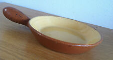 "Hoganas Keramik Sweden Pan w/ Handle Swedish  Mustard & Rust   D  6 1/2"""