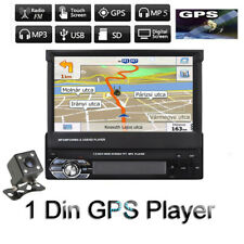 "7"" Single 1 DIN Car DAB Radio Stereo Player GPS SAT NAV Mp3 AUX Bluetooth Camera"