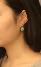Boucles d'Oreilles Dormeuse Doré Demi Perle Mini Perle Bleu Vintage DD 5