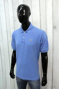 LACOSTE Uomo Taglia 7 / 2XL Polo T-shirt Maglia Blu Maglietta Manica Corta Logo