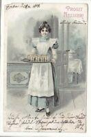 uralte AK Neujahrskarte Junge Kellnerin mit Tablett und Gläsern 1904 //41