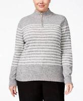 Karen Scott Plus Size Striped Quarter-Zip Sweater Black Gray size 1X