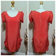 Ladies Reiss Coral Shift Dress Short Sleeves Below Knee Women's Size 10