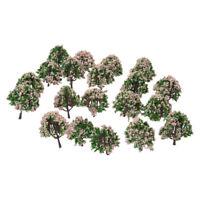 20 Stueck 2,5 Zoll Landschaft Landschaft Zug Modell Baeume w / Rosa Blumen Ma S2