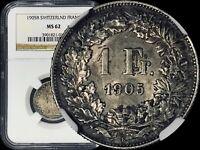 1905 B Switzerland Franc (Silver) - NGC MS62 (BU / UNC)