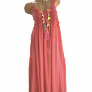 Women Summer Casual Loose Solid Short Dress Crew Neck Lace Sleeveless Tank Dress