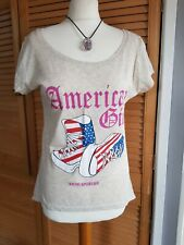 American Girl Cotton Multi  Tshirt Sneakers/Pumps Graphic Size 10/12