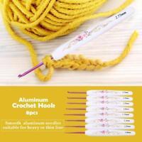8 x Aluminum Crochet Hook Set Knitting Needle & Soft Floral Print Plastic Handle
