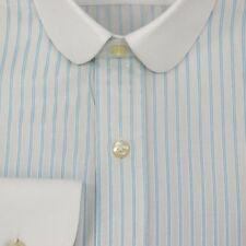 Mens Club collar Bankers shirt Light Blue stripes White collar Easy 2 Iron Penny