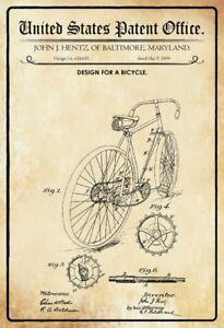 US Patent Fahrrad Bicycle 1899 Blechschild Schild gewölbt Tin Sign 20 x 30 cm