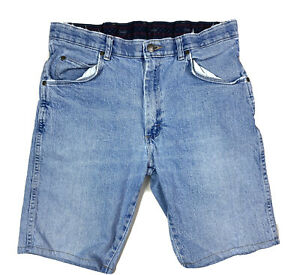 Wrangler Men's Regular Fit Shorts Denim Blue Jean Size 34 X 29 Elastic Waist
