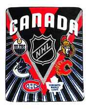 NHL Canada Hockey Blanket Maple Leafs Canadians Senators Flames Oilers, Canucks