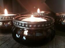 Set of 4 Pumpkin Bronze Rim Mercury Vintage Glass Tea Light Holders Wedding