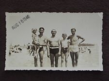 YOUNG MEN & BOY IN SWIM SUITS AT BEACH WITH BULGES Vtg 1940 PHOTO, GAY INTEREST