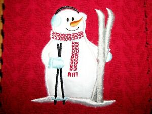 SNOWMAN WITH SKI'S  APPLIQUE, EMBROIDERED ONTO RED HAND/ DISH TOWELS