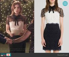 Sandro Black and White Rozen Lace Panel Bow Dress Sz 1 (US 0 2 / Small) $415