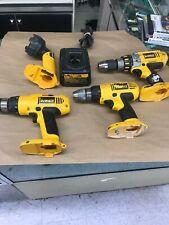 Large Lot of Dewalt 14.4 V tools. Drills Hammer Drill Flashlight Charger No Bat