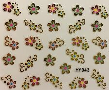 Nail Art 3D Decal Stickers Gold Flowers with Pink & Blue Accents HY043