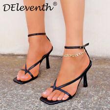 Mujeres Damas Sandalias Alto Puntera Cuadrada Cómodos Zapatos De Taco Fiesta Peep Toe Bloque