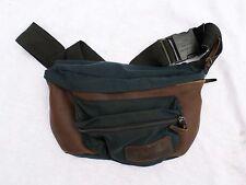 EASTPAK true vintage blue black Cordura nylon brown leather fanny pack bag