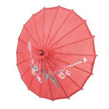 "Red Cloth Bamboo 21"" Dia Chinese Oriental Umbrella Parasol WS H4R6"