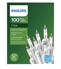 Philips 100ct Christmas Incandescent Smooth Mini String Lights Clear White Wire