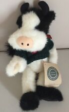 "Boyds Bears 11"" stuffed plush COW BESSIE w/Tag wearing Heart Sweater"