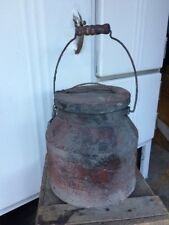 NEW Berry Bucket Tin Small Primitive Lunch Pail w/ Lid & Wooden Handle 7""