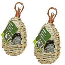 2PK Hanging Woven Natural Wild Bird Roosting Pouch House Hut Nest Nesting Tree