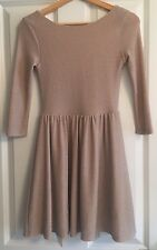 Women's Topshop Size 8 Pale Gold Shimmer A-line Cocktail Party Dress